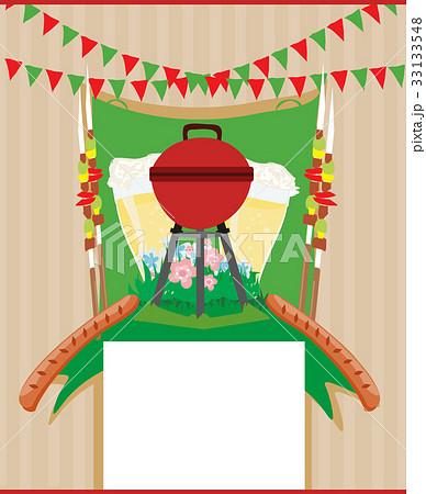 barbecue party invitation cardのイラスト素材 33133548 pixta