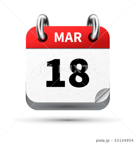 icon of calendar with 18 march date on whiteのイラスト素材 [33134954] - PIXTA