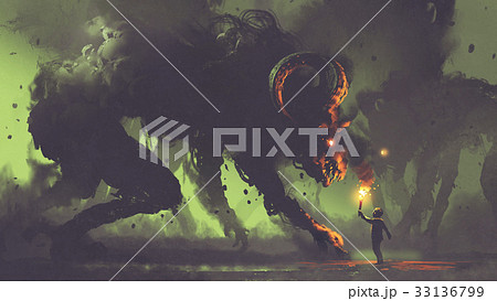 boy with a torch facing smoke monsters 33136799