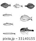 魚介類セット(1) <水墨画の魚介類> 33140155