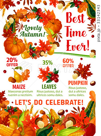 autumn season sale promotion poster templateのイラスト素材 33142343