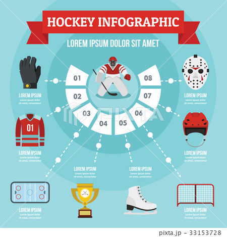 Hockey infographic concept, flat styleのイラスト素材 [33153728] - PIXTA