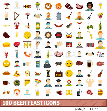 100 beer feast icons set, flat style 33154339