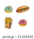 Vector hot dog donut potato fry set flat isolated 33163926