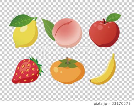 果物 りんご もも レモン いちご 柿 バナナ 33170372