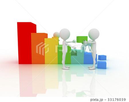 Men with cubes. Teamwork. 3d 33176039