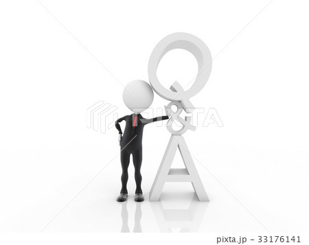 3d man with question and answer sign 33176141