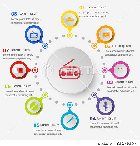 Infographic template with entertainment icons 33179307