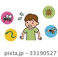 子どもと屋外の危険生物のイラスト 33190527
