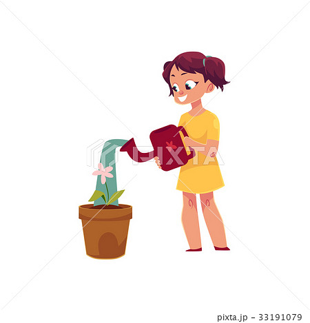 Little girl watering houseplant, pot flower 33191079