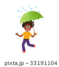 vector boy keeping umbrella in hand under rain 33191104
