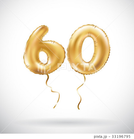 vector Golden number 60 sixty metallic balloonのイラスト素材 [33196795] - PIXTA