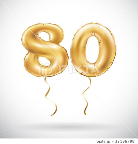 vector Golden number 80 eighty balloon. Partyのイラスト素材 [33196799] - PIXTA
