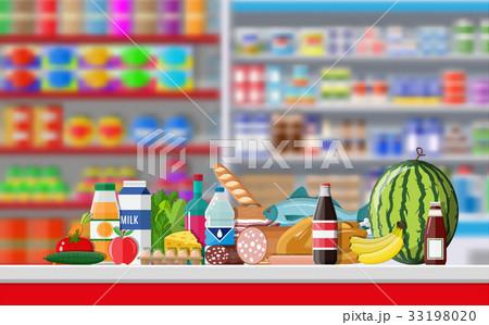 Supermarket store interior with goods. 33198020