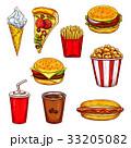 Fast food sketch set with burger, drink, dessert 33205082