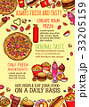 Fast food lunch dishes sketch poster template 33205159