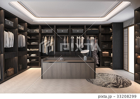 minimal scandinavian wood walk in closet 33208299