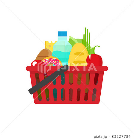Grocery shopping basket vector illustration, full 33227784