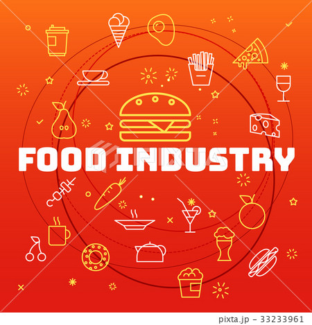Food industry concept. Different thin line icons  33233961