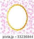 ピンクの花びらと額または鏡 33236844