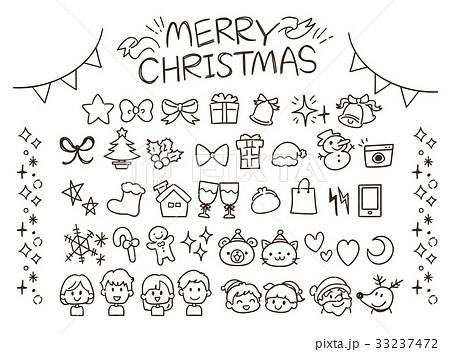 クリスマスのガーリーな手描き風アイコンセット(線) 33237472