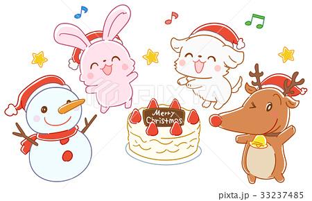 クリスマスケーキを囲む動物たちのイラスト 33237485