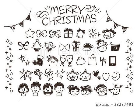 クリスマスのガーリーな手描き風アイコンセット(モノクロ) 33237491