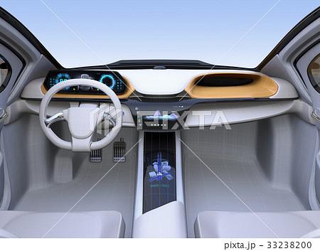 ワイヤーフレーム付きの電気自動車のインパネイメージ 33238200