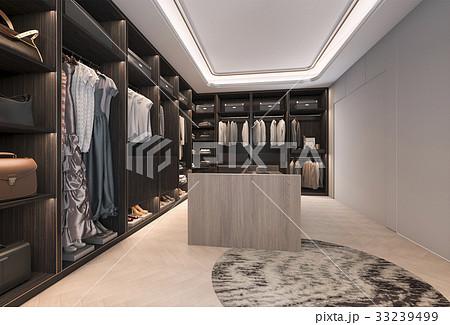minimal loft dark wood walk in closet  33239499