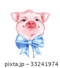 Funny pig and bow. Cute watercolor illustrati 33241974