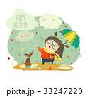 ベクトル 雨 女の子のイラスト 33247220