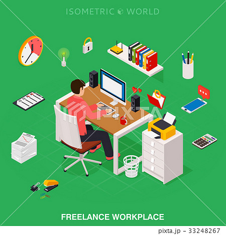 freelancer working on desktop computer at the deskのイラスト素材