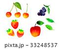さくらんぼ 苺 りんご ブルーベリー 水彩画 33248537