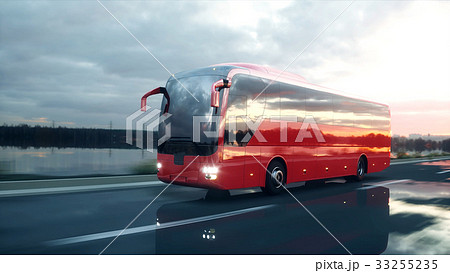 tourist red bus on the road, highway. Very fast 33255235