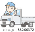 軽自動車トラックに乗った男性がガッツポーズしているイラスト 33266372