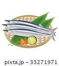 秋の味覚 ザルに乗ったサンマのイラスト|Illustration of mackerel pike 33271971