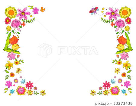 春の花 フレームのイラスト素材 33273439 Pixta
