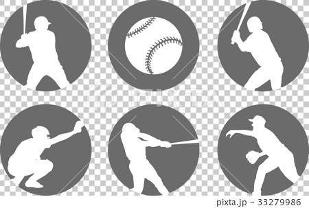 simple baseball icons set 33279986