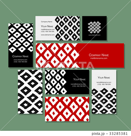 Business cards design, geometric fabric patternのイラスト素材 [33285381] - PIXTA