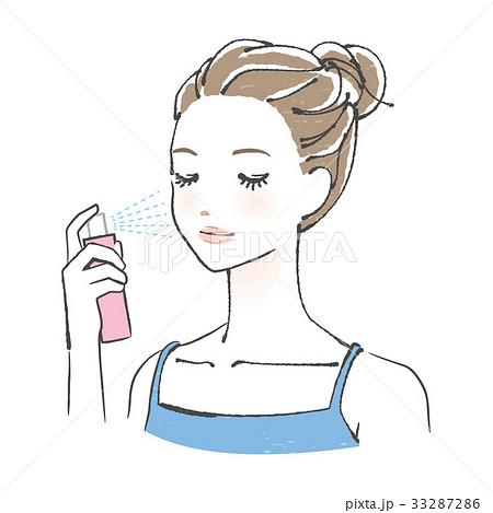 美容 横顔 化粧水 スプレーのイラスト素材 33287286 Pixta