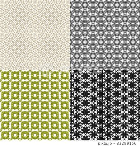 Set of  geometric pattern in op art design. Vectorのイラスト素材 [33299156] - PIXTA