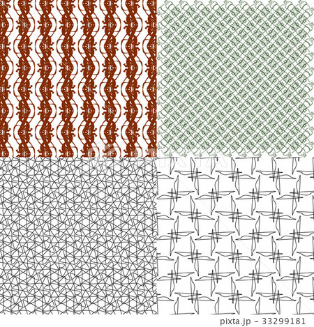 Set of  geometric pattern in op art design. Vectorのイラスト素材 [33299181] - PIXTA