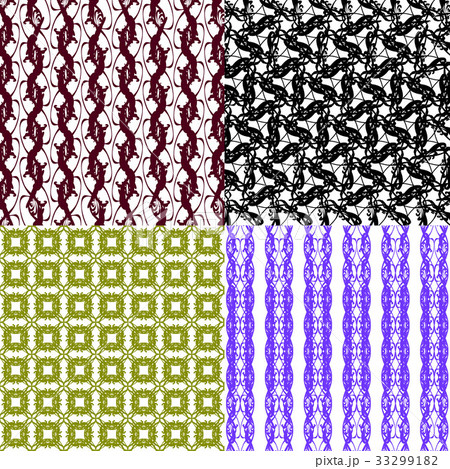 Set of  geometric pattern in op art design. Vectorのイラスト素材 [33299182] - PIXTA