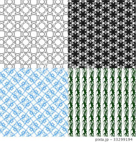 Set of  geometric pattern in op art design. Vectorのイラスト素材 [33299194] - PIXTA