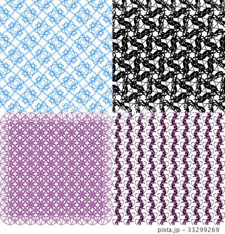 Set of  geometric pattern in op art design. Vectorのイラスト素材 [33299269] - PIXTA