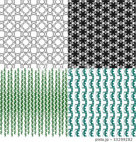 Set of 4 monochrome elegant patterns.Vector ornameのイラスト素材 [33299282] - PIXTA
