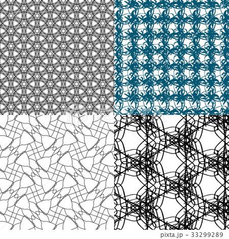 Set of 4 monochrome elegant patterns.Vector ornameのイラスト素材 [33299289] - PIXTA