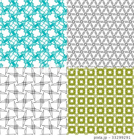 Set of 4 monochrome elegant patterns.Vector ornameのイラスト素材 [33299291] - PIXTA