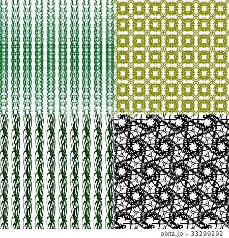 Set of 4 monochrome elegant patterns.Vector ornameのイラスト素材 [33299292] - PIXTA