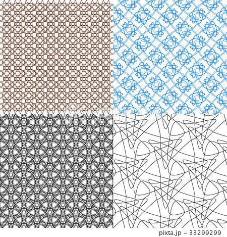 Set of 4 monochrome elegant patterns.Vector ornameのイラスト素材 [33299299] - PIXTA